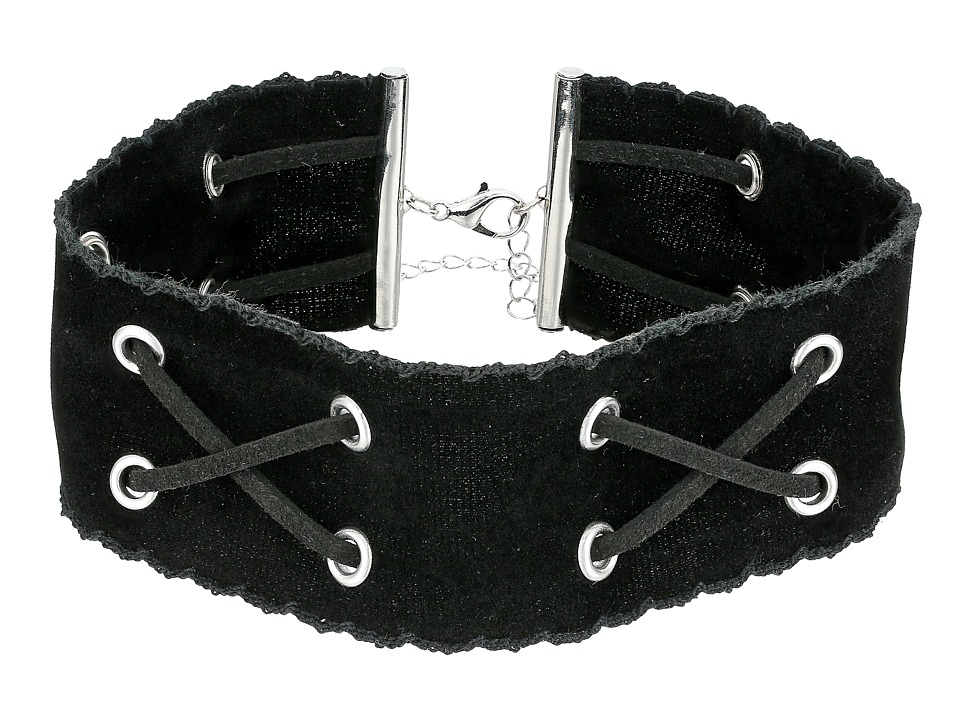 Steve Madden - Velvet and Suede Crisscross Choker Necklace (Black) Necklace