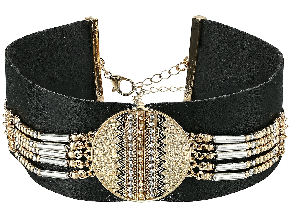 Steve Madden - Black Leather with Silver/Gold Beaded Choker Necklace (Gold) Necklace