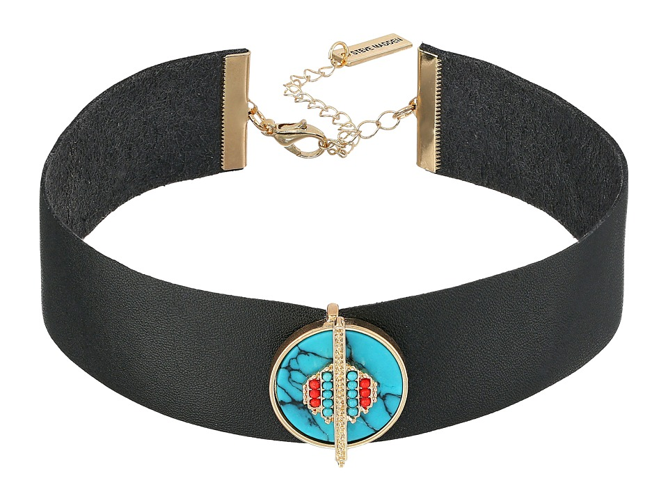 Steve Madden - Black Leather Choker with Round Green Stone Charm Necklace (Gold) Necklace