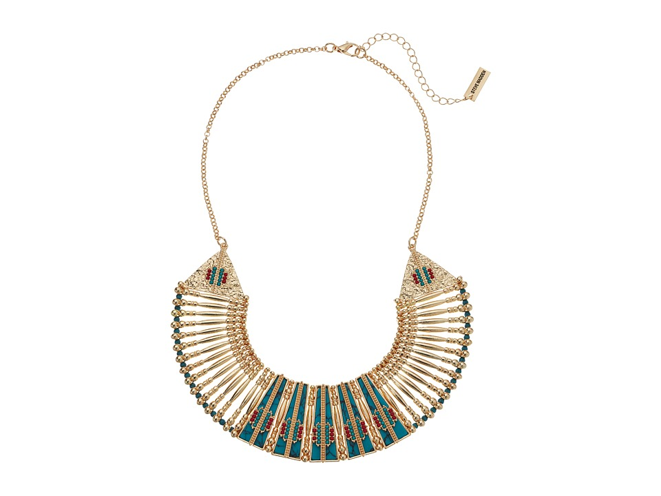 Steve Madden - Blue Bar and Geometric Stone Bead Bib Necklace (Gold) Necklace