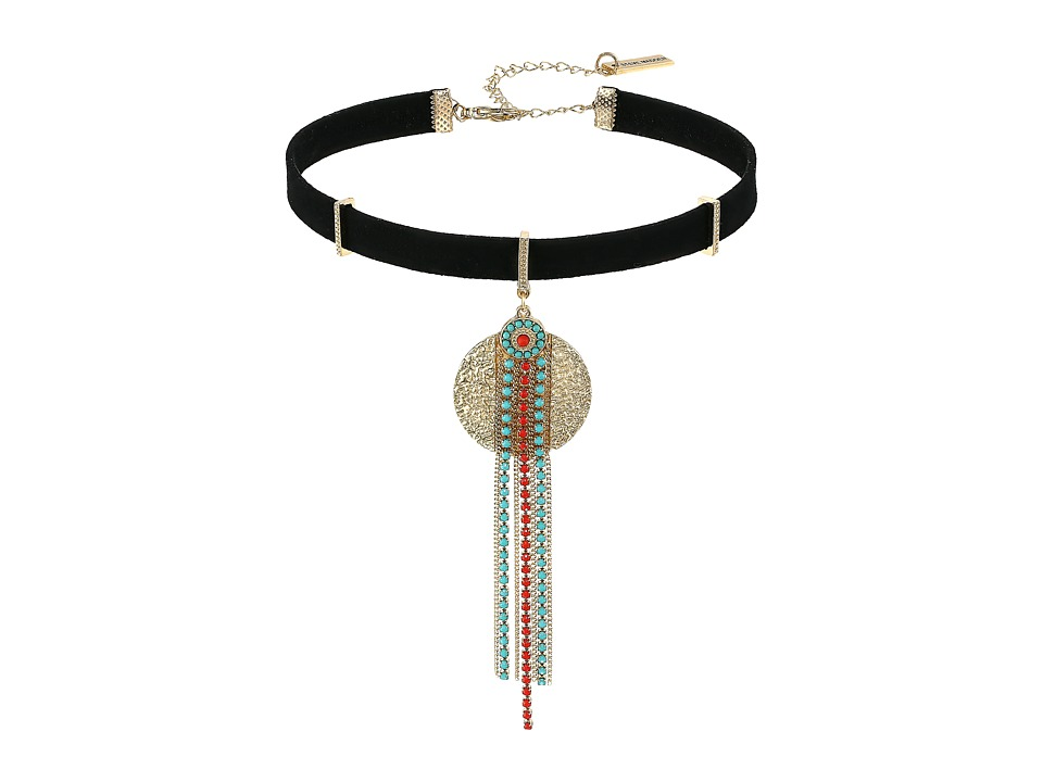Steve Madden - Textured Disc Green/Red Bead Fringe Suede Choker Necklace (Gold) Necklace