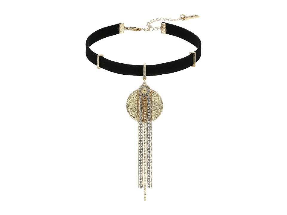 Steve Madden - Textured Disc Silver/Gold Bead Fringe Suede Choker Necklace (Gold) Necklace