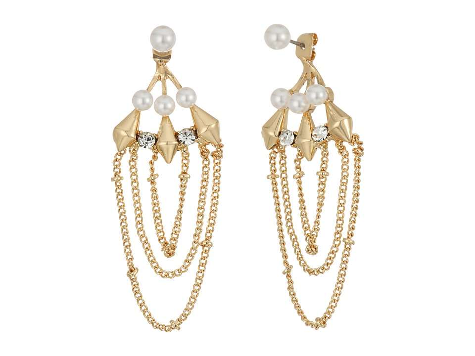Steve Madden - Pearl/Chain Front to Back Earrings (Gold) Earring