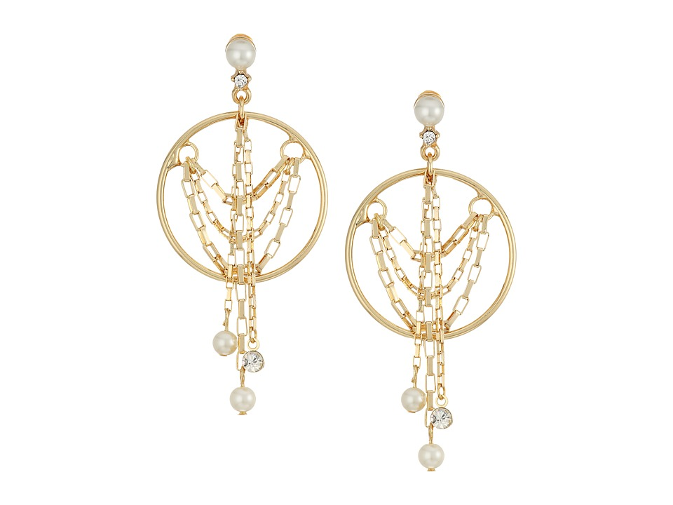 Steve Madden - Pearl/Ring/Chain Fringe Earrings (Gold) Earring