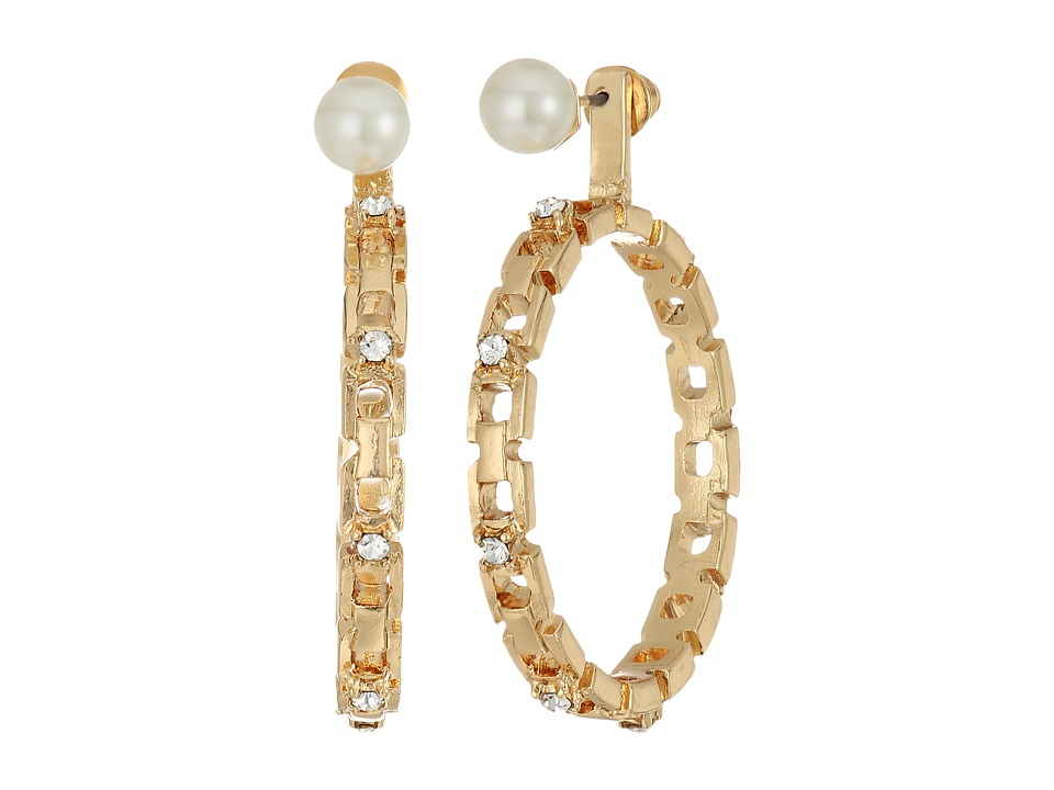 Steve Madden - Pearl/Hoop Front to Back Earrings (Gold) Earring