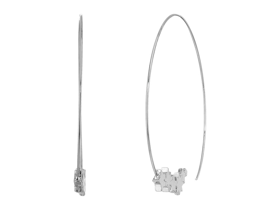 Steve Madden - Station Star Charm Threader Earrings (Silver) Earring