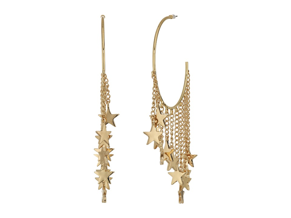 Steve Madden - Dangling Star Charm Hoop Earrings (Gold) Earring