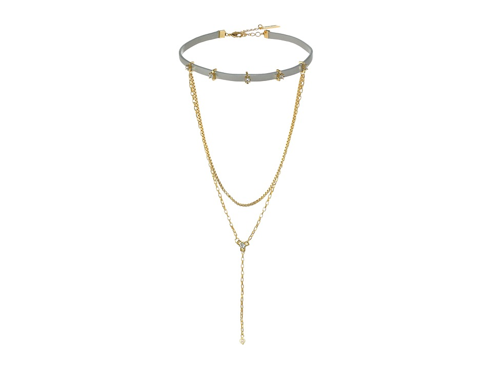 Steve Madden - Leather Chain Stone Choker Necklace (Gold) Necklace