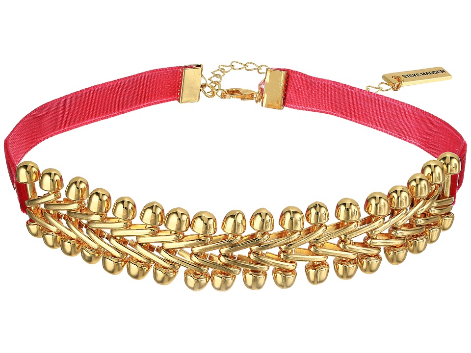Steve Madden - Velvet Laced V Link Choker Necklace (Gold) Necklace