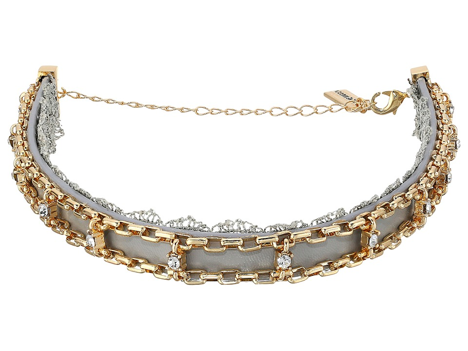 Steve Madden - Grey Lace/Leather/Chain Cast Stone Choker Necklace (Gold) Necklace