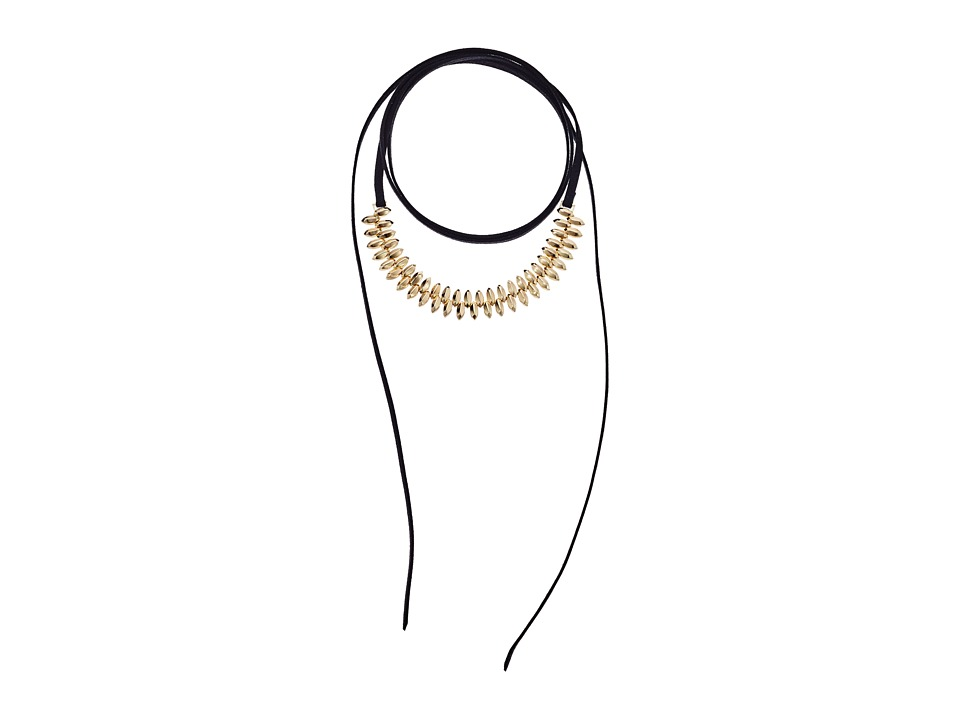 Steve Madden - Suede Wrap Around Bead Choker Necklace (Gold) Necklace