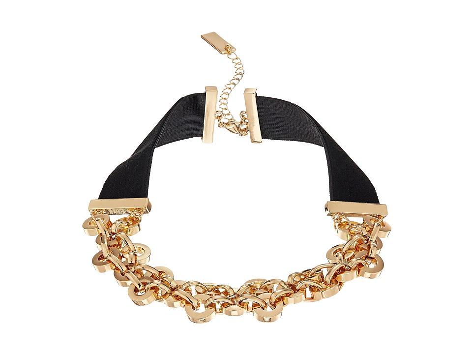 Steve Madden - Velvet Straps Rolo Chain Choker Necklace (Gold) Necklace