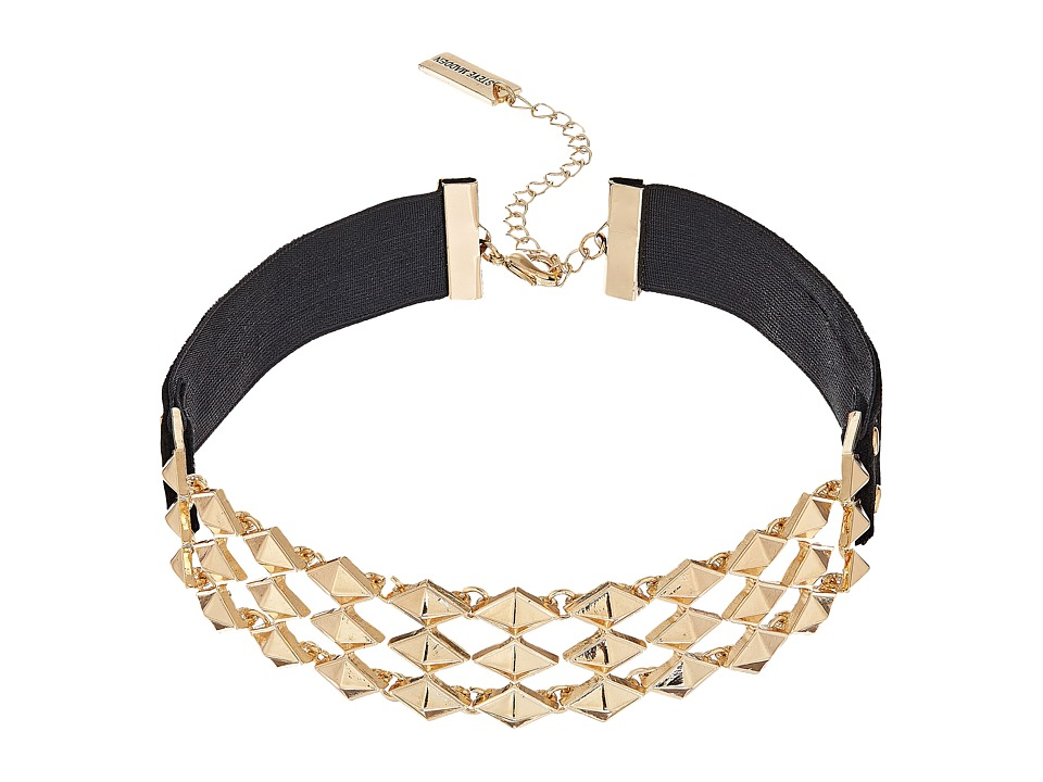 Steve Madden - Interlocking Stud Suede Straps Choker Necklace (Gold) Necklace