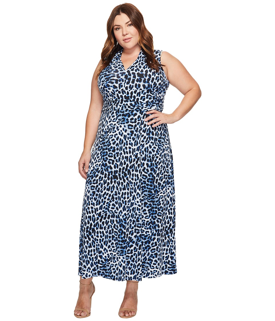 Vince Camuto Specialty Size - Plus Size Leopard Song Halter Maxi Dress (Nile Blue) Women's Dress