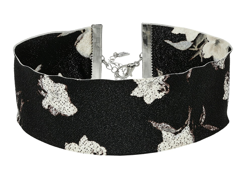 Steve Madden - Material with Floral Pattern Choker Necklace (Silver/Black) Necklace