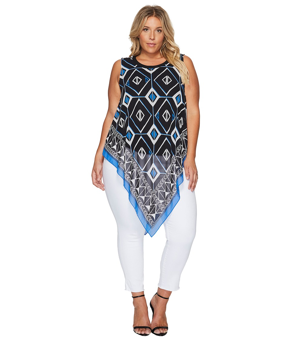 Vince Camuto Specialty Size - Plus Size Sleeveless Nairobi Graphic Handkerchief Blouse (Deep Sky) Women's Blouse