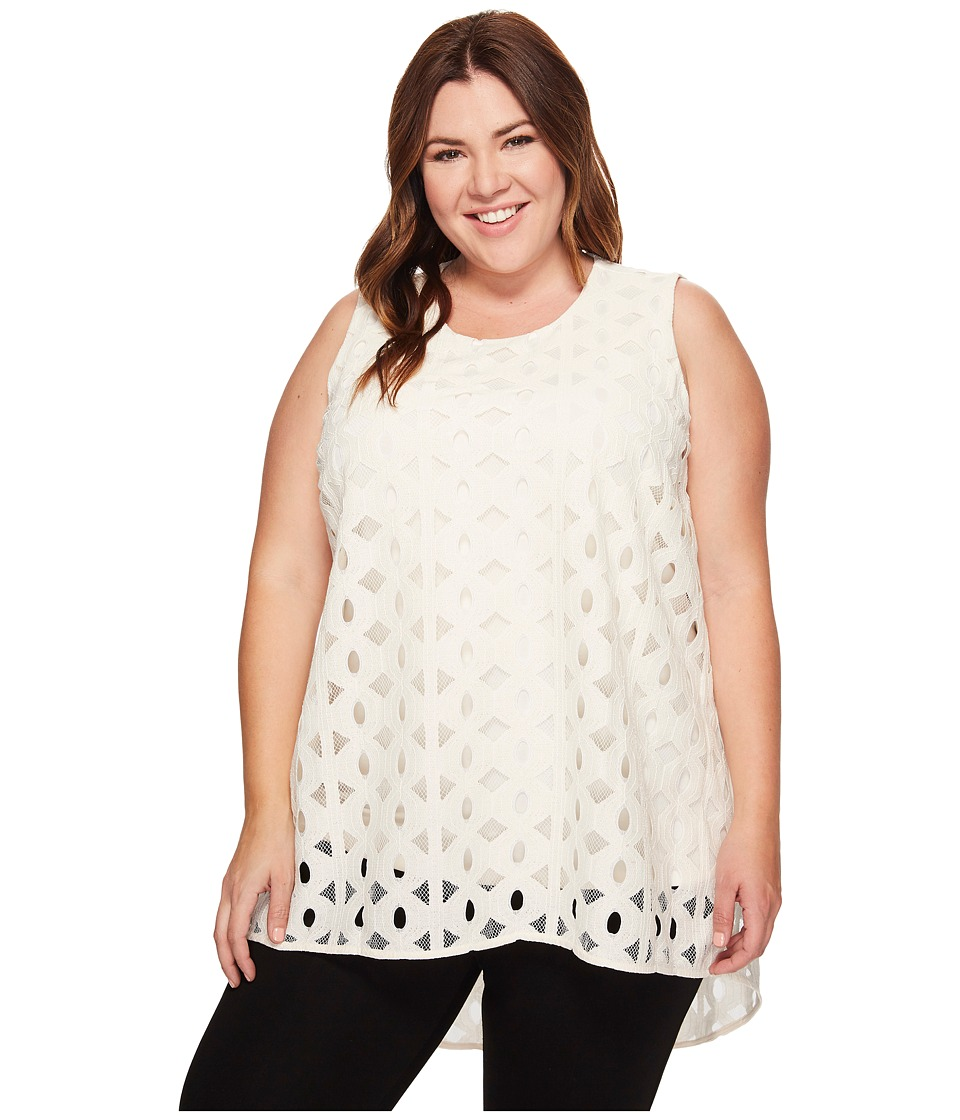 Vince Camuto Specialty Size - Plus Size Sleeveless Cable Lace High-Low Hem Blouse (Antique White) Women's Blouse