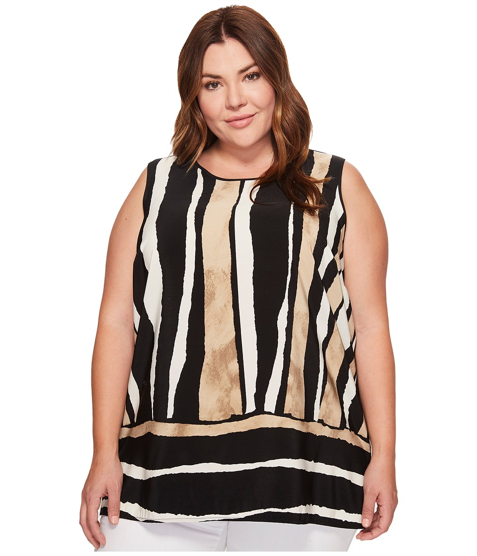 Vince Camuto Specialty Size - Plus Size Sleeveless Linear Terrain Blouse w/ Knit Back (Rich Black) Women's Blouse