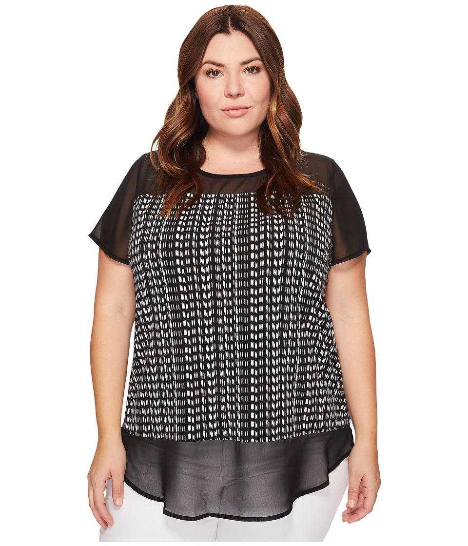 Vince Camuto Specialty Size - Plus Size Short Sleeve Sahara Tracks Chiffon Mix Media Top (Rich Black) Women's Clothing