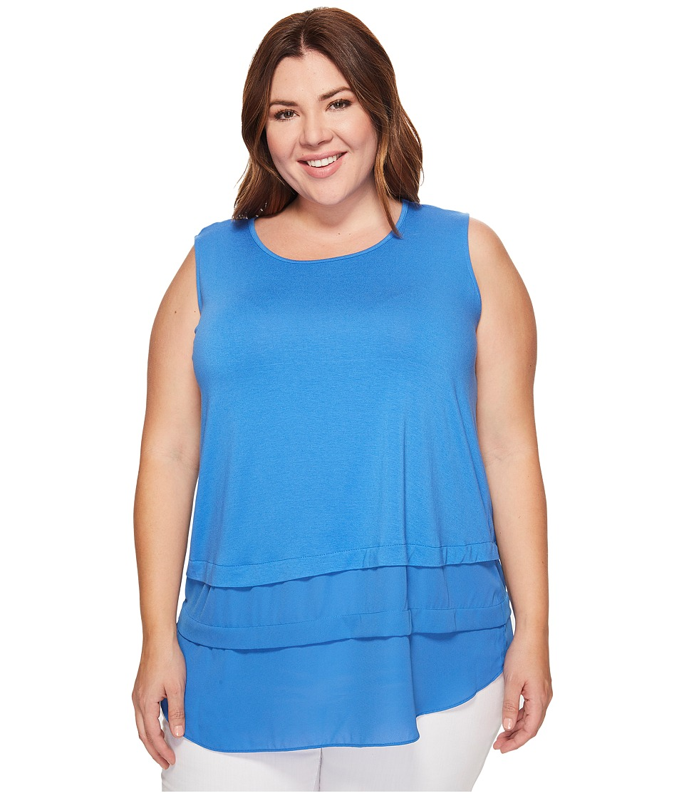 Vince Camuto Specialty Size - Plus Size Sleeveless Mix Media Layered Top (Deep Sky) Women's Clothing