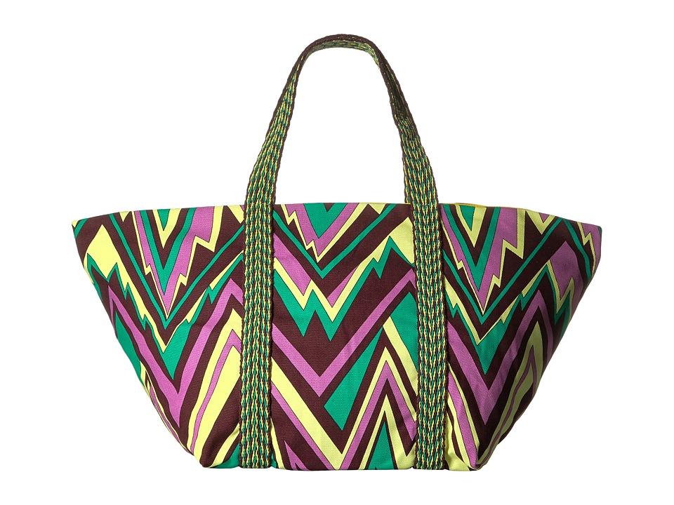 M Missoni - Zigzag Canvas Beach Bag (Brown) Bags