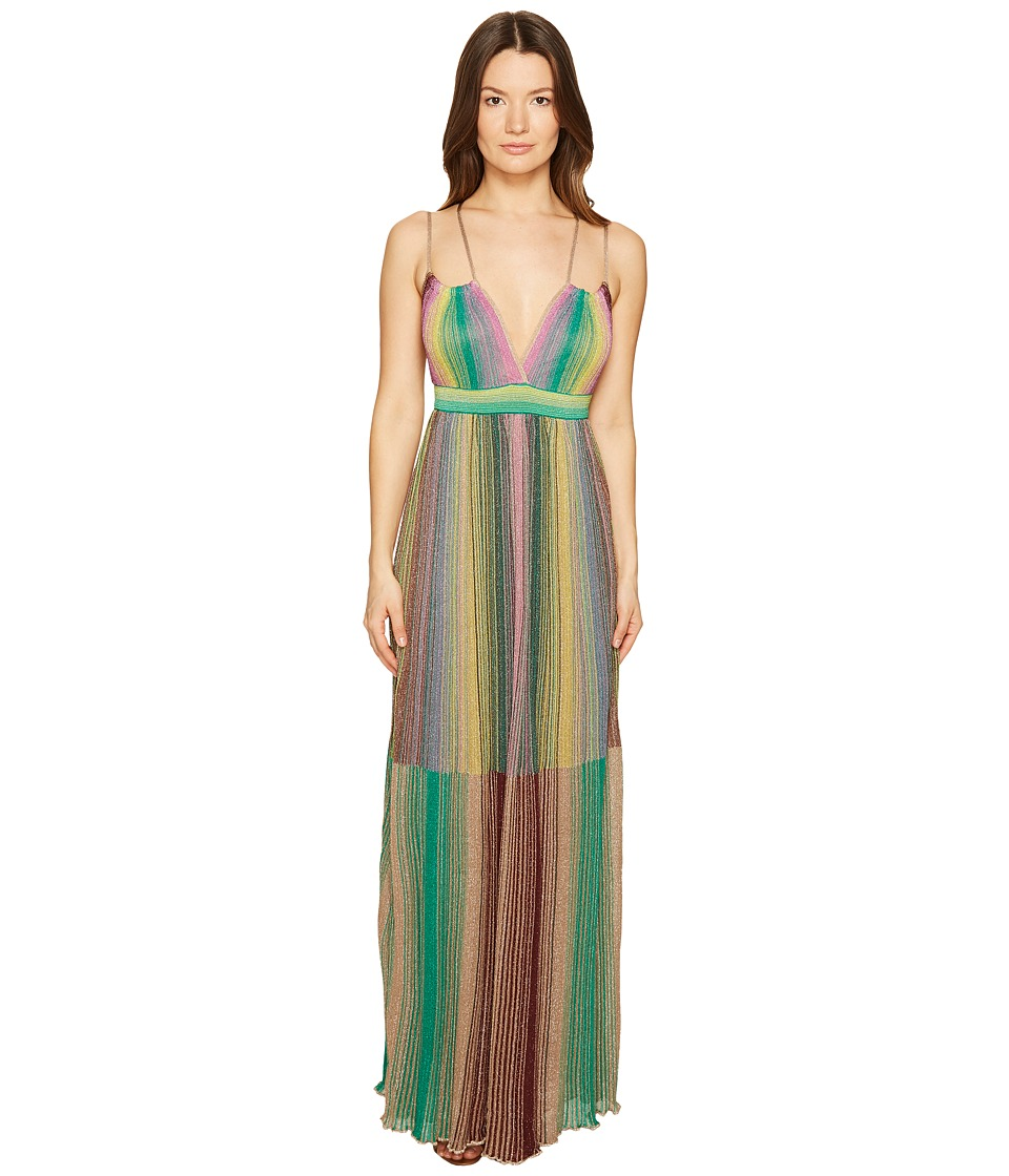 M Missoni - Multicolor Plisse Maxi Dress (Brown) Women's Dress