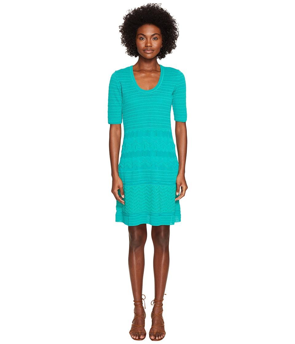 M Missoni Solid Rib Stitch Dress (Turquoise) Women