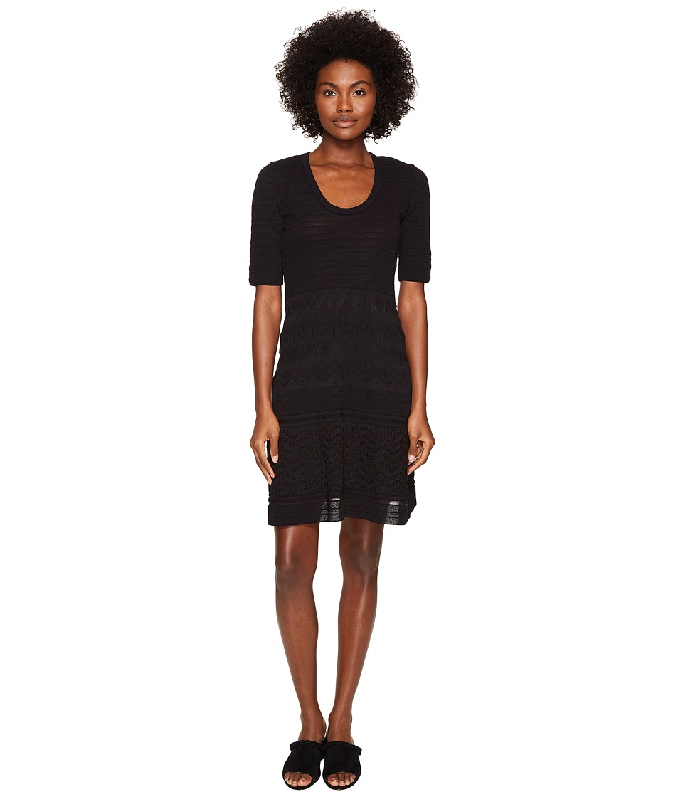 M Missoni - Solid Rib Stitch Dress (Black 1) Women's Dress