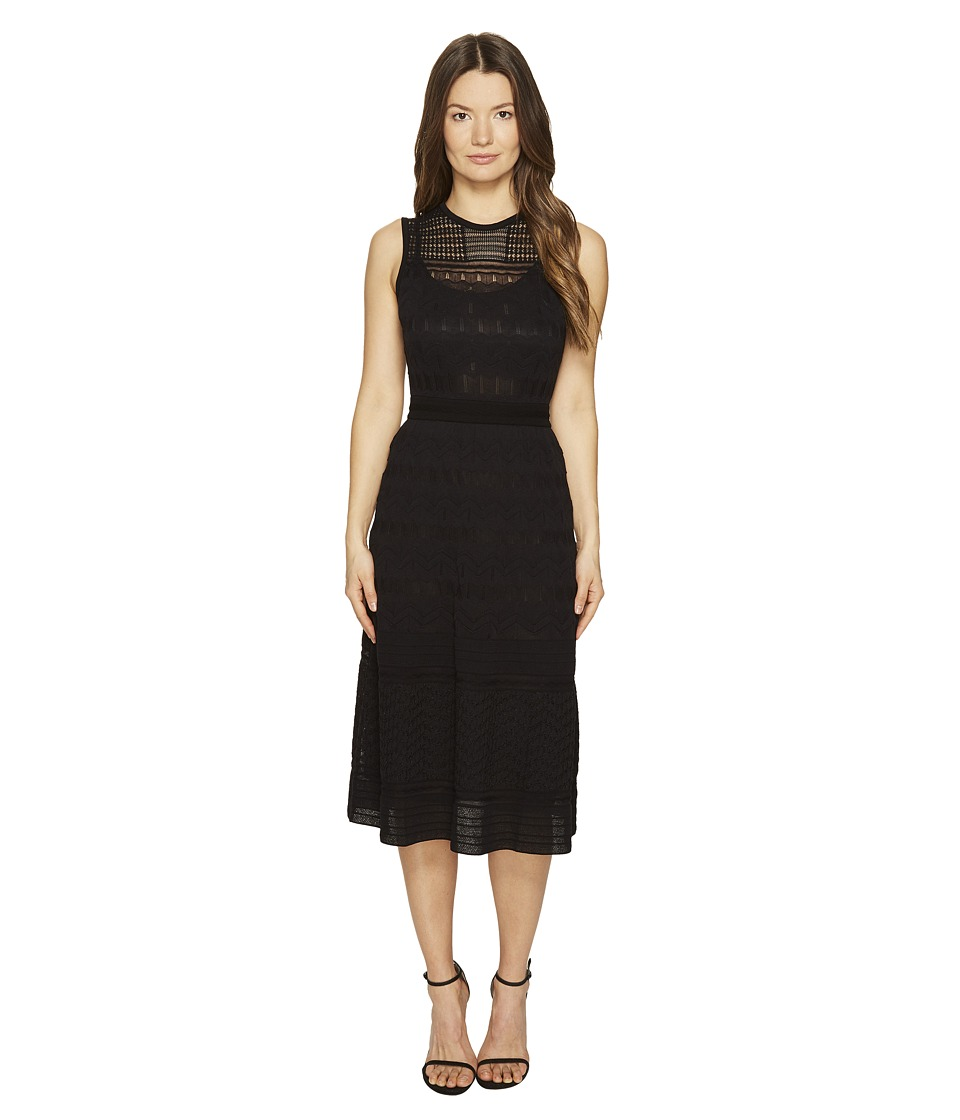 M Missoni - Solid Rib Stitch Sleeveless Dress (Black 1) Women's Dress