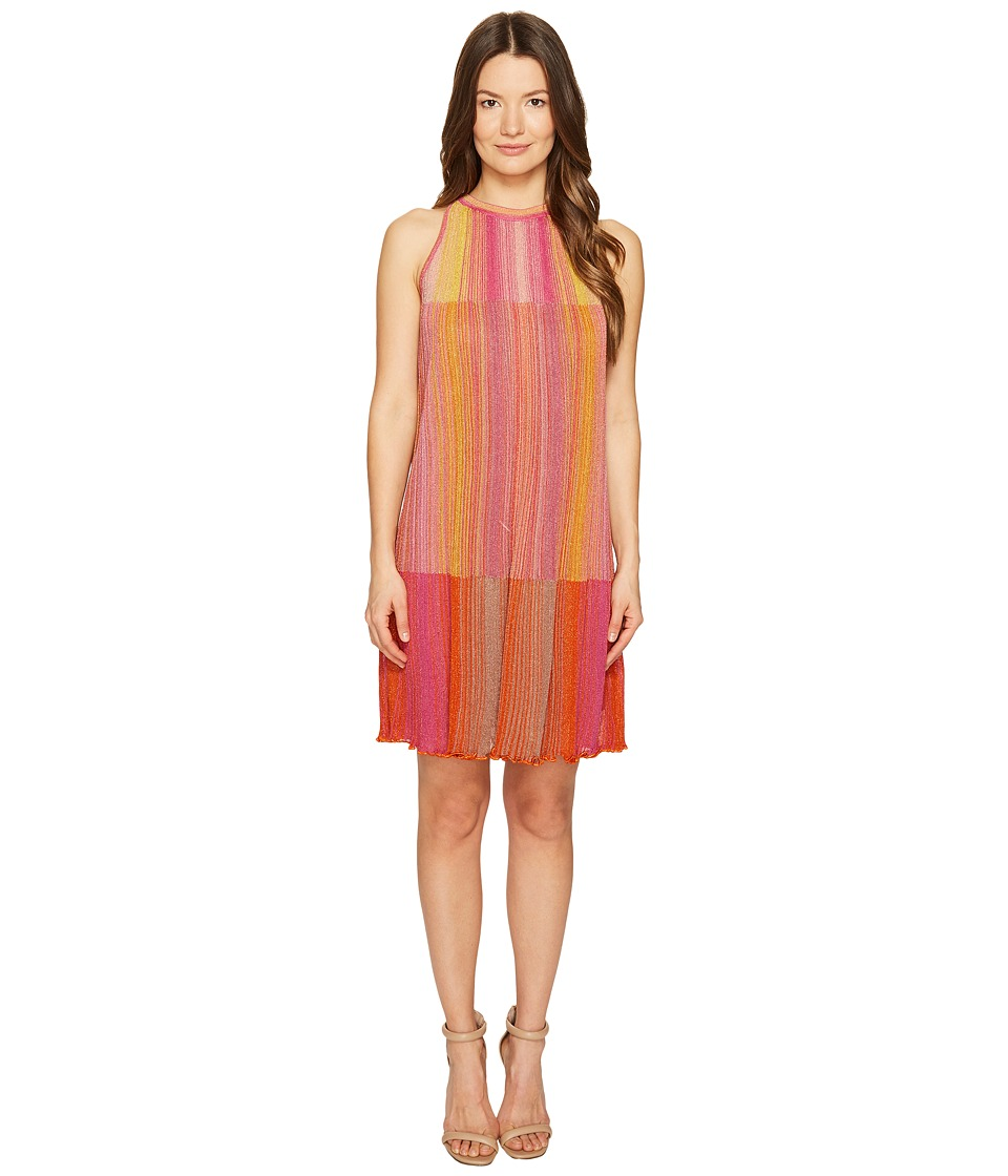 M Missoni - Multicolor Plisse Sleeveless Dress (Pink) Women's Dress