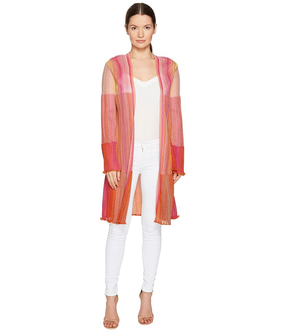 M Missoni - Multicolor Plisse Cardigan (Pink) Women's Sweater