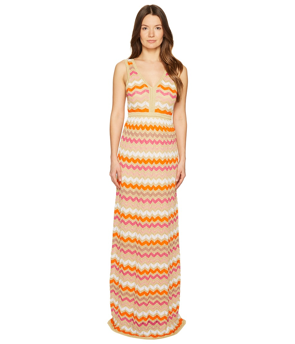 M Missoni - Ombre Zigzag Maxi Dress (White) Women's Dress