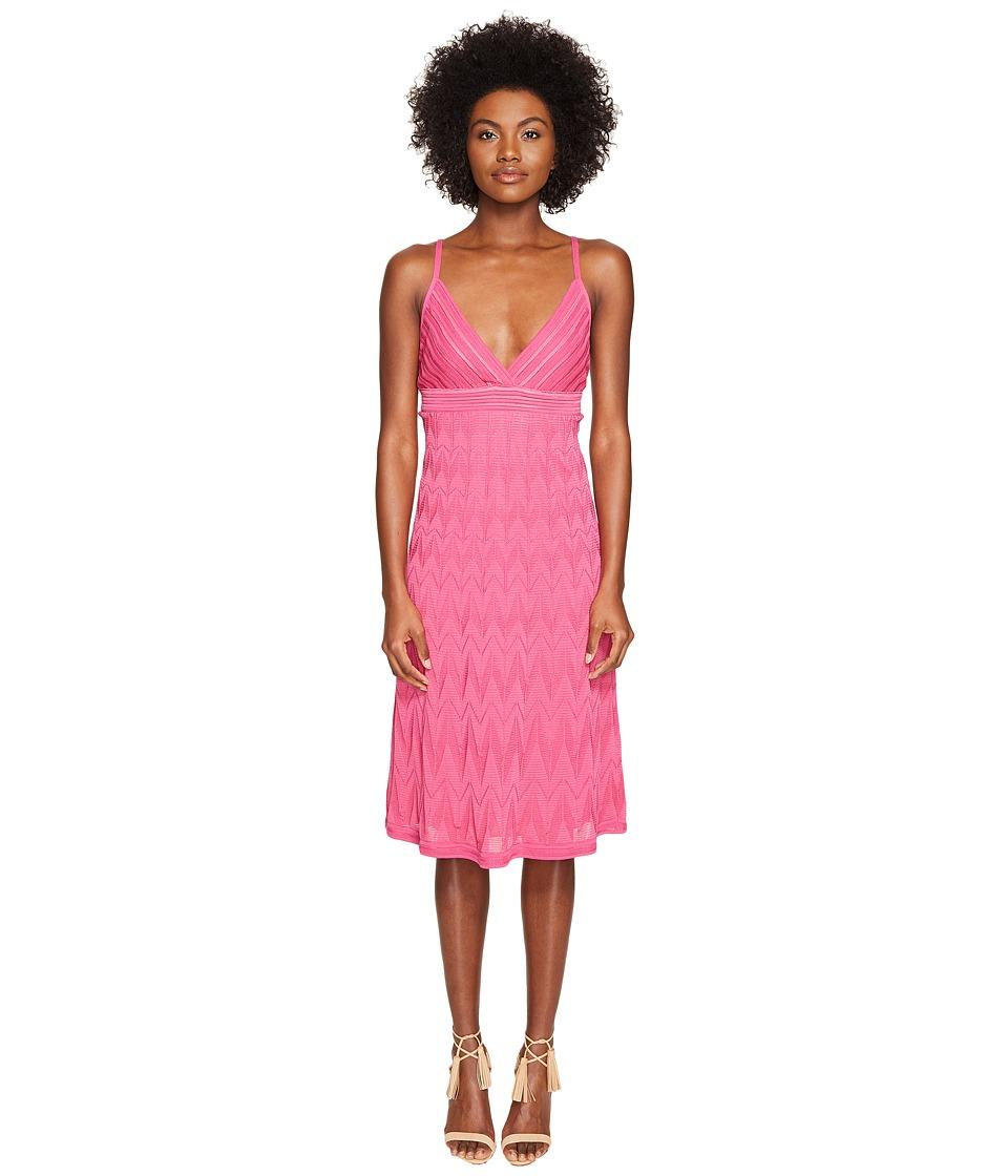 M Missoni Solid Knit Skinny Strap Dress (Pink) Women