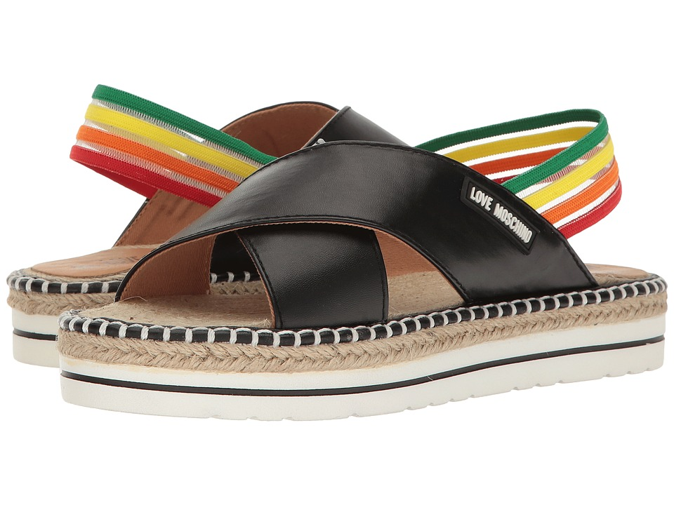 LOVE Moschino - Rainbow Strap Sandal (Black) Women's Sandals