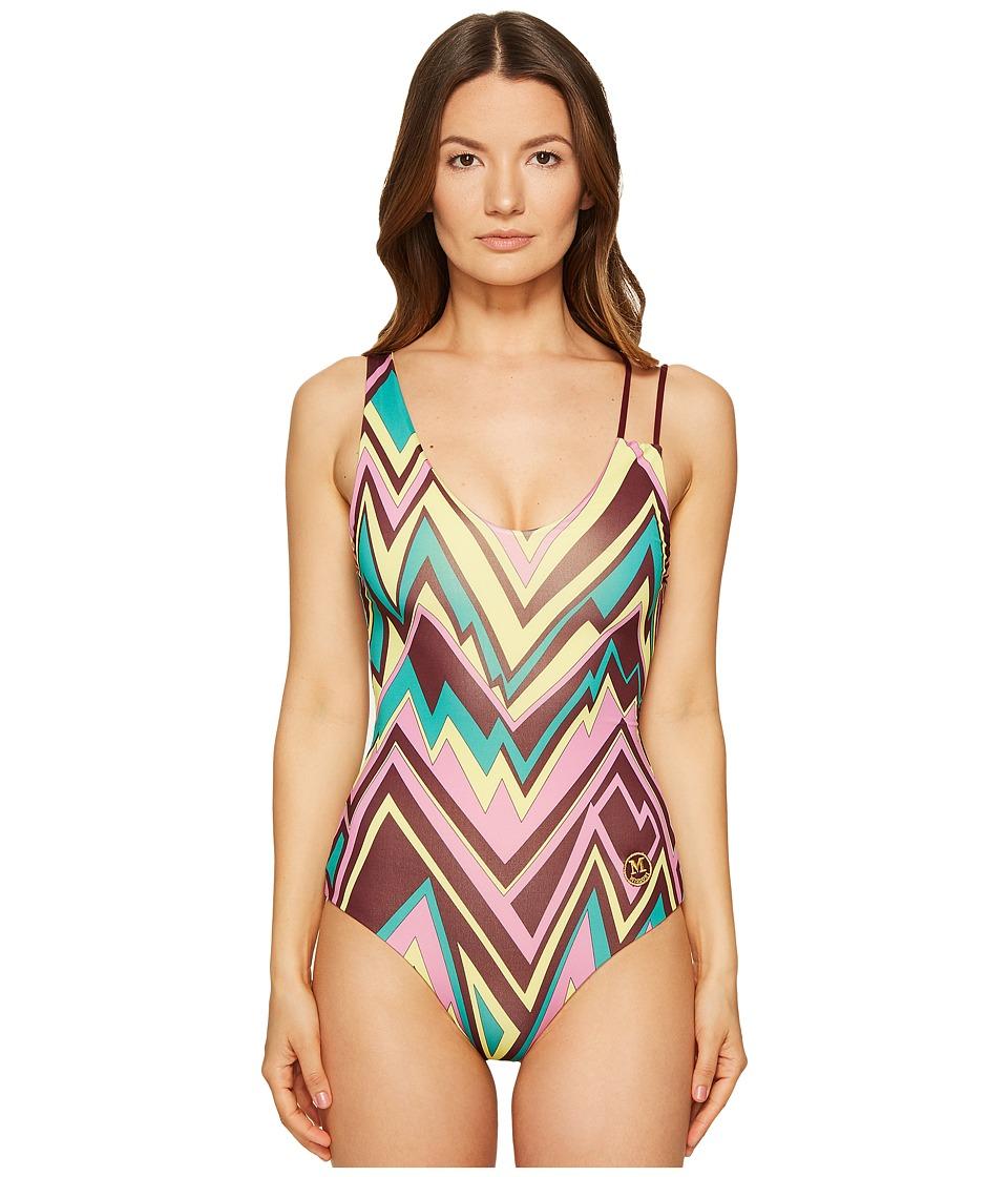 M Missoni - Retro Zigzag One-Piece (Brown) Women's Swimsuits One Piece