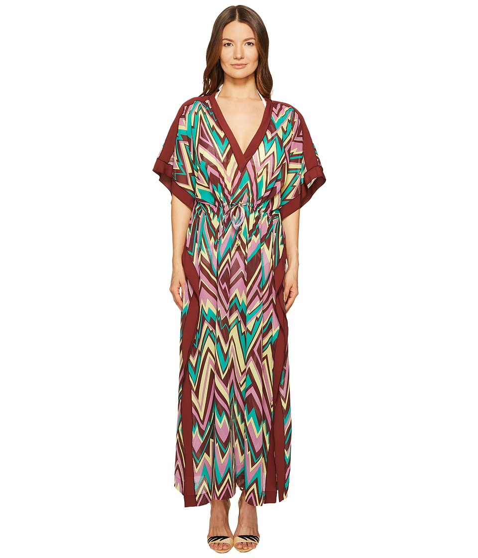 M Missoni - Retro Zigzag Cotton Voile Long Cover-Up (Brown) Women's Swimwear