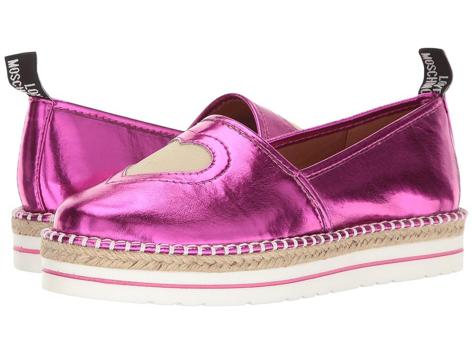 LOVE Moschino - Metallic Heart Espadrille (Pink) Women's Shoes