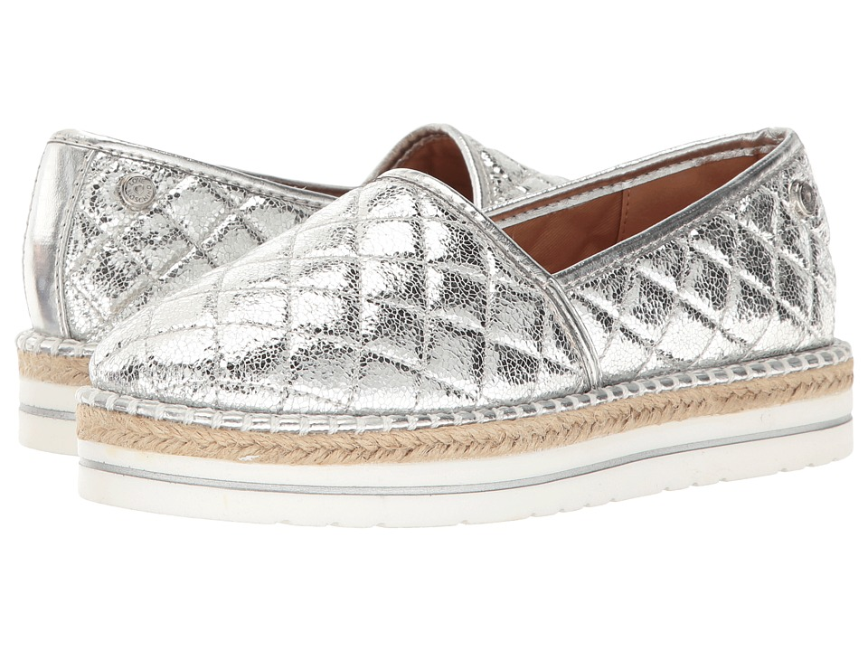 LOVE Moschino Sparkle Quilted Espadrille (Silver) Women