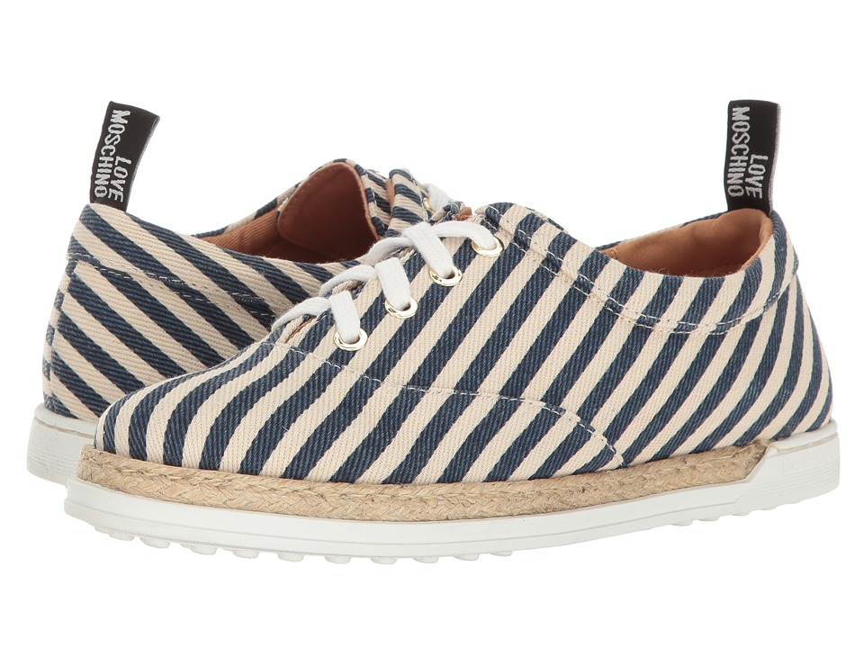 LOVE Moschino - Striped Canvas Shoe (Navy) Women's Shoes