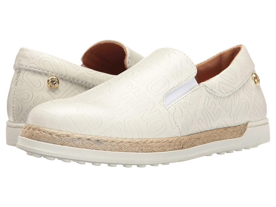 LOVE Moschino - Embossed Logo Slip-On (White) Women's Slip on Shoes