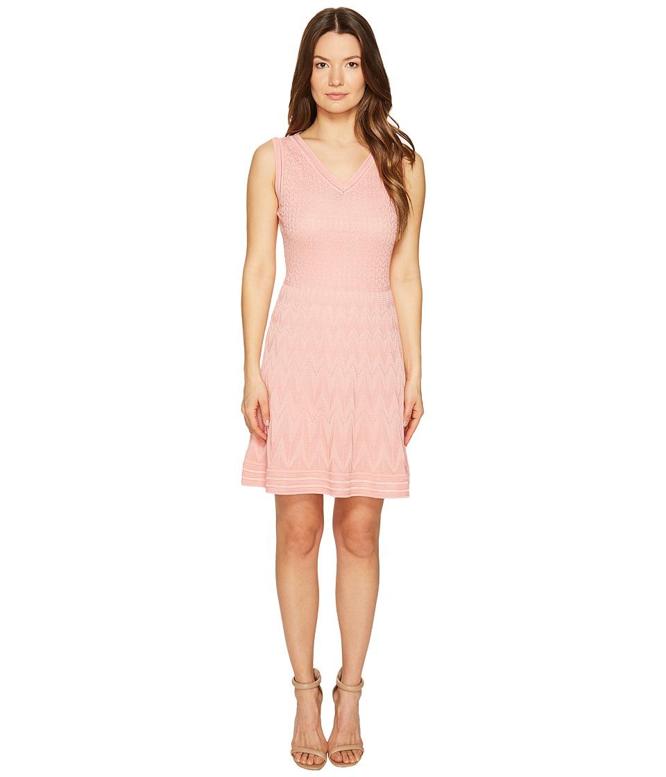 M Missoni Solid Knit Sleeveless V-Neck Dress (Blush) Women