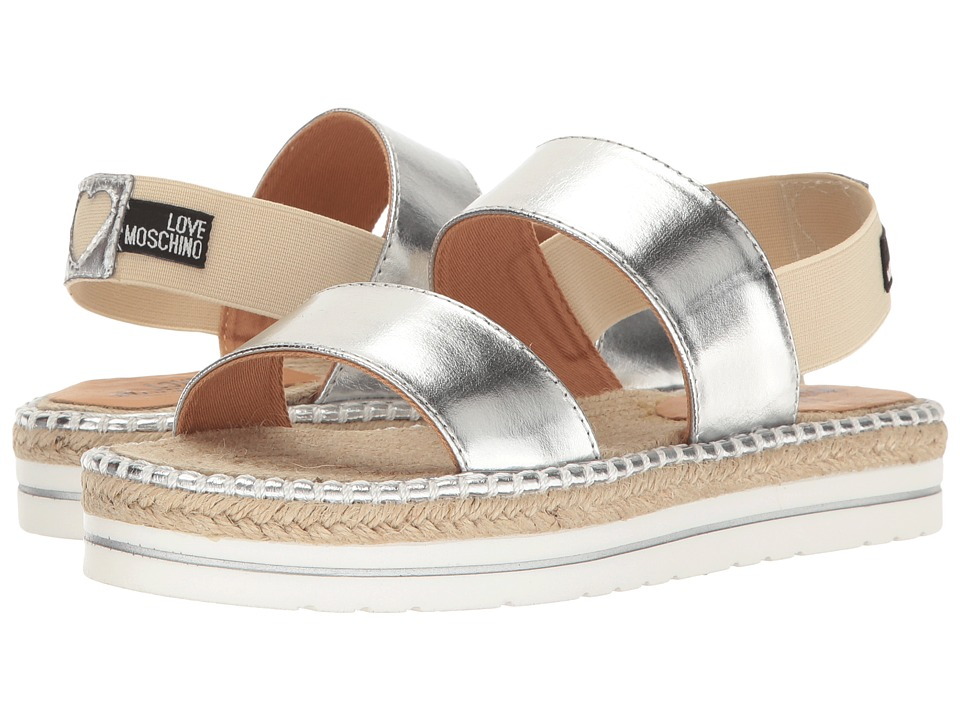 LOVE Moschino - Metallic Sandal Espadrille (Silver) Women's Shoes