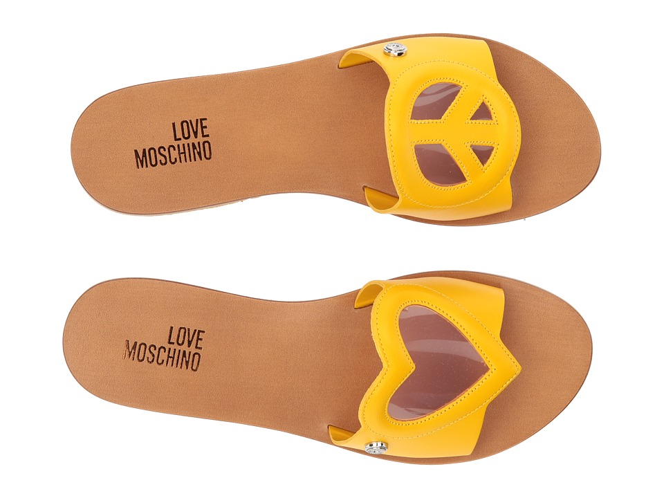 LOVE Moschino - Heart/Peace Sandal (Yellow/Pink) Women's Sandals