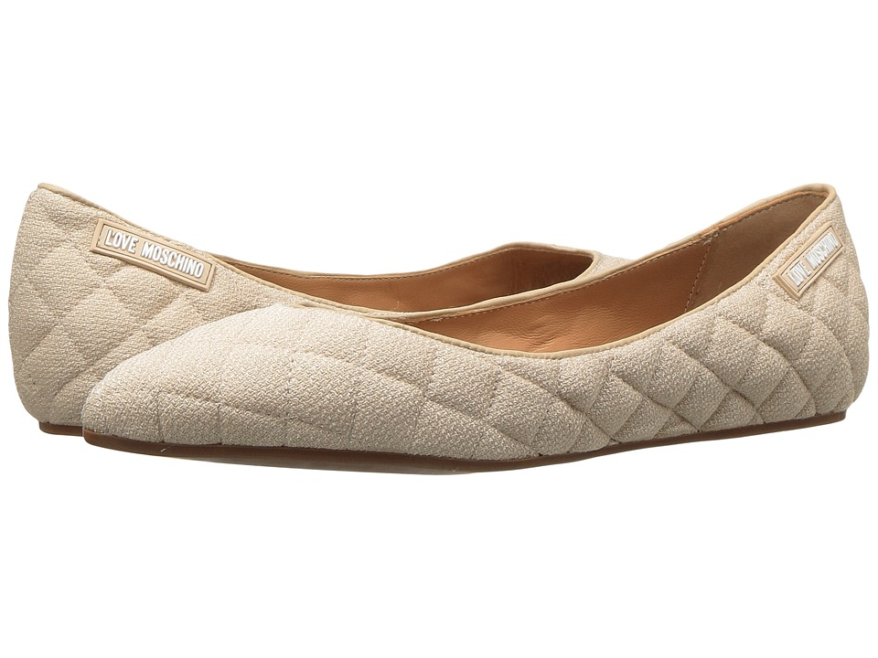 LOVE Moschino Fabric Quilted Flats (Beige) Women