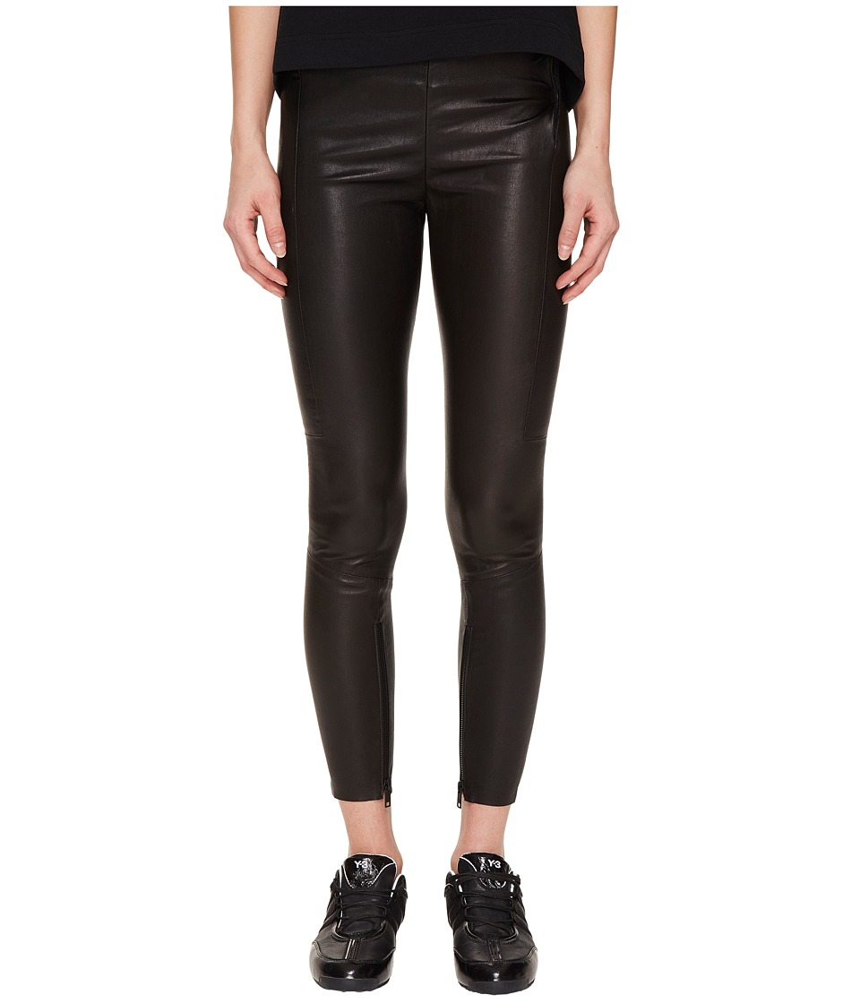 adidas Y-3 by Yohji Yamamoto - Leather Leggings (Black) Women's Casual Pants