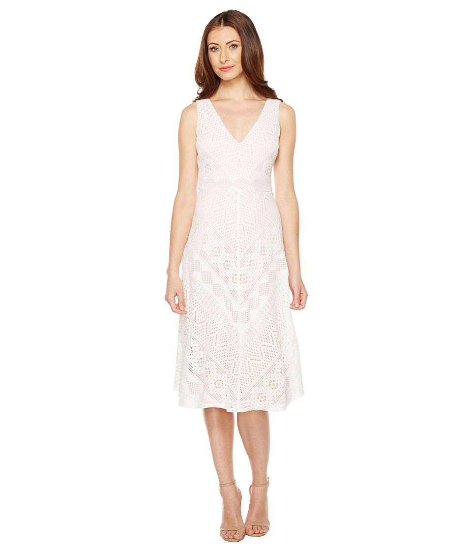 Vince Camuto - Lace Open Back Midi Length Dress (Ivory) Women's Dress
