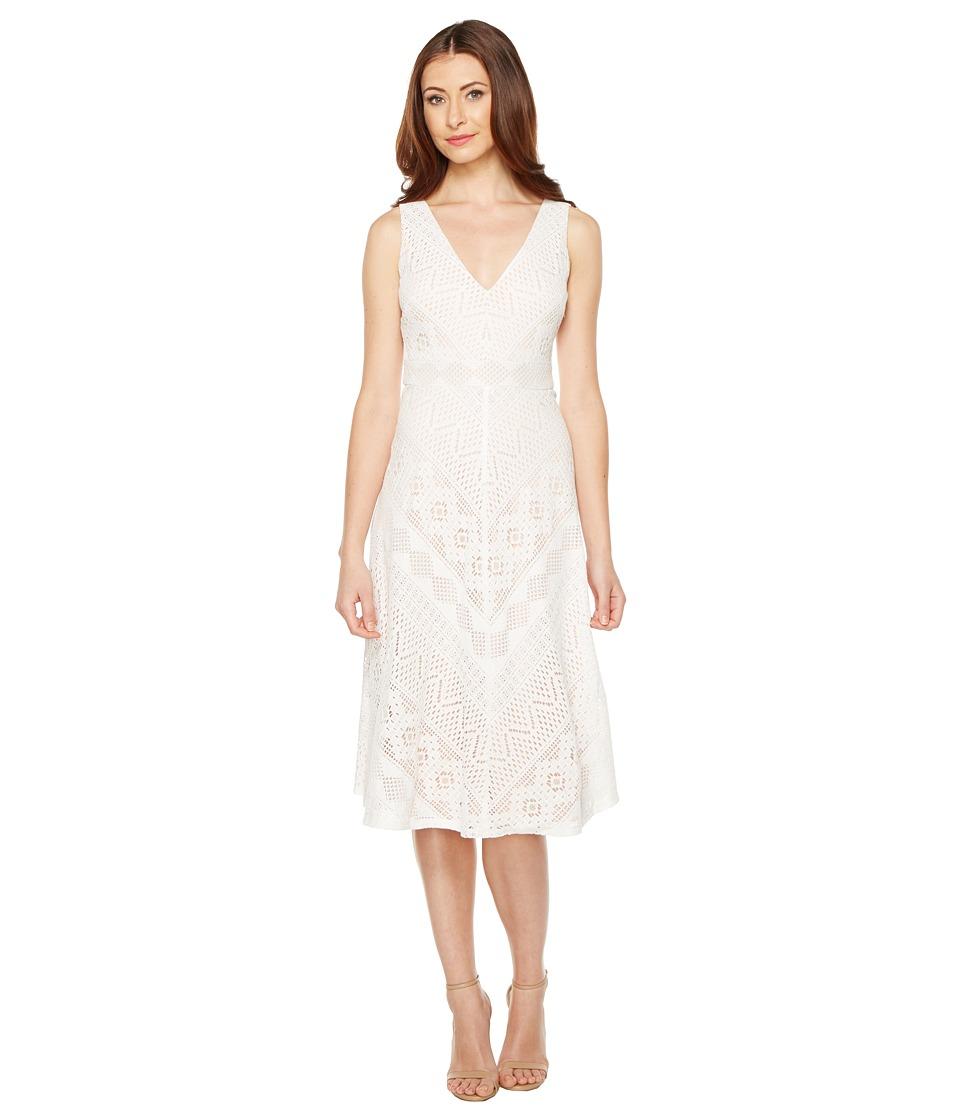 Vince Camuto Lace Open Back Midi Length Dress (Ivory) Women
