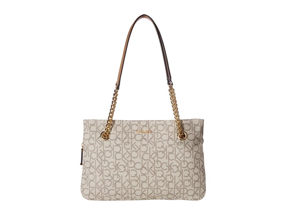 Calvin Klein - Hudson Monogram Satchel (Almond/Khaki/Cashew Saffiano) Satchel Handbags