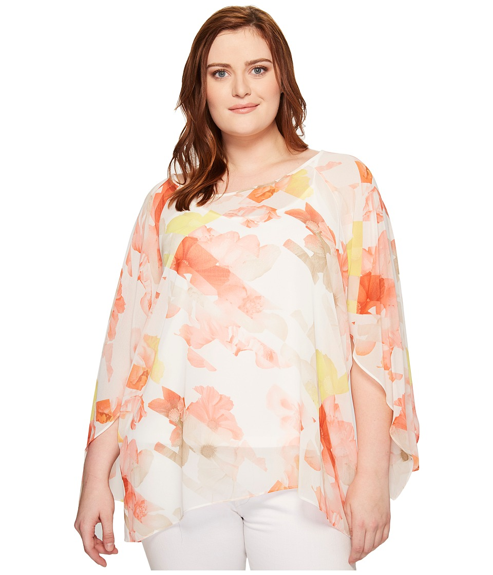 Calvin Klein Plus - Plus Size Printed Slit Sleeve Blouse (Porcelain Rose/Soft White Multi) Women's Blouse