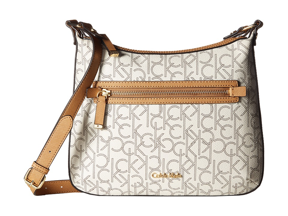Calvin Klein - Hudson Monogram Crossbody (Almond/Khaki/Cashew Saffiano) Cross Body Handbags